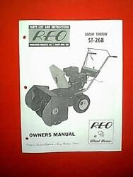 Reo Wheel Horse Snowthrower Snowblower Model St-268 Owner With Parts Manual