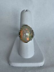 Adg Jewels 14k White Gold Fire Opal And Diamond Ring