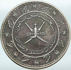 1959 Muscat And Oman Sultanate Crossed Sword Vintage Silver Saidi Rial Coin I88319