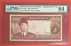 Indonesia 100 Rupiah 1960 Replacement Pick 86a Pmg 64 Choice Unc. 2613