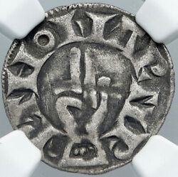1200ad France Archbishopric Besancon Old Silver Denier Medieval Ngc Coin I88557