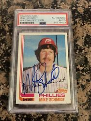 Mike Schmidt Signed 1982 Topps Baseball Card 100 Phillies Psa/dna Auth Hof Auto