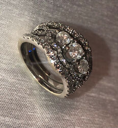 Diamond Ring With 2 Sautered Diamond Bands Size 7 Clarity I/j