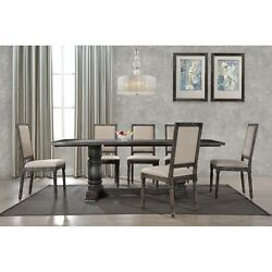 5p Or 7pc Dining Set Transitional Design Smoked Grey Color Table And Fabric Chair