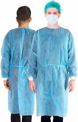 Disposable Sms Isolation Gowns Blue With Knit Cuff Dental-medical 10/50/100 Pack