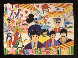 """Ron Cambell Beatles 19 X 14 Painting """"real Love"""" Yellow Submarine Auto W Cert."""
