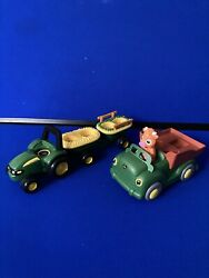 John Deere Tomy Toy Plastic Green Tractor Truck Cow Lot Of 2 Parts No Sound