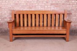 Antique Stickley Style Arts And Crafts Solid Oak Bench