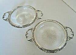 Pair Silver And Cut Glass 2 Handled Dishes, Hallmarked Birmingham 1904
