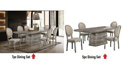 5pc Or 7pc Dining Set Transitional Wood Veneer Rectangular Table And Side Chair