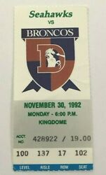 Seattle Seahawks Denver Broncos 1992 Ticket Stub Worst Game In Mnf History