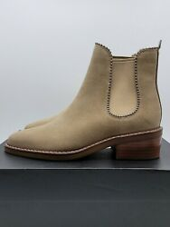 Coach Women's Bowery Bead High Heel Bootie Suede Tan/oat - Sz 5.5, 6 And 6.5- New