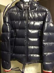 Used Moncler Alberic Down Jacket 2 Mens Size M Navy With Clothes Hanger