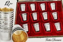 Boxed French Sterling Silver And Vermeil Small Vodka Liqueur Cups Goblets - 12pc