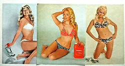 Lot Of 3 Ridgid 1969 73 76 Pinup Calendar Pages-pipe Cutter-red White Blue-zebra