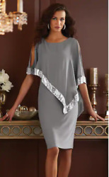 Size 16 Midnight Velvet Gray Silver Formal Cicktail Party Clarice Sequin Dress $25.99