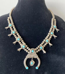 21 1970s Estate Turquoise Squash Blossom Silver Necklace Bench Bead Arrow Mark
