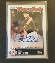 Zac Gallen 2020 Topps Brooklyn Collection Rookie Auto Rc On Card Auto Ed/75