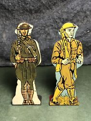 2 Lot | Vintage Marx | Flat Tin Soldiers | American Infantry Doughboy And Private