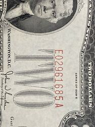 Error 1928 G 2 Two Dollar Bill 《red Seal Andnumber Shfit Down》 A/unc !super Rare!