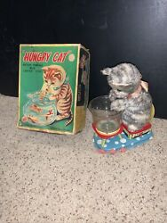 Very Rare Vintage Linemar Toys Co Hungry Cat Tin Toy Battery Powered J2519 Box