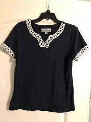 Ladies Samantha Grey Pullover Navy Shirt with White Embellishment Size Small $5.00