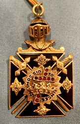 Knights Templar Masonic In Hoc Signo Vinces Antique Fob With Diamonds And Chain