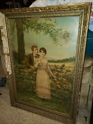 Antique Painting A Love Story Framed Man Woman Fence Pasture Flowers