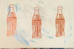 Mr Clever Art Gold Blue Champagne Soda Pop Bottles Vintage Painting Contemporary