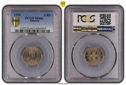 Jamaica - Farthing 1/4 Penny Unc Coin 1910 Year Km21 Grading Pcgs Ms66