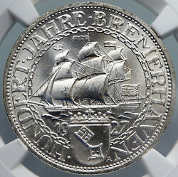 1927 A Germany Weimar Republic Bremerhaven Vintage Silver 3 Mark Coin Ngc I88865