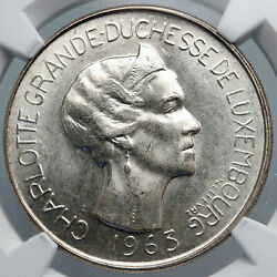 1963 Luxembourg Dutchess Charlotte John Blind Silver 100 Francs Coin Ngc I88911