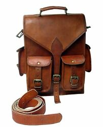 Bag Messenger Backpack Leather Men Rucksack Vintage S Laptop Genuine Satchel New $48.36