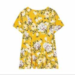 Torrid Plus 4 Or 5 Yellow Floral Super Soft Knit Fit And Flair Top Tunic New