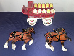Metlox California Poppytrail Pottery Budweiser Clydesdale And Wagon Partial Set