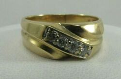 14k Solid Gold Mens Diamond Wedding Ring Size 9 Sale Save 800 R718