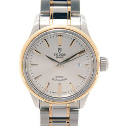 Tudor Style Automatic Ladies Silver Dial Ss Yg 12103 Date From Japan [e0222]