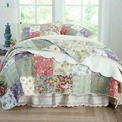 Beautiful Cozy Cottage Chic Country Pink Rose Green Blue Patchwork Quilt Set