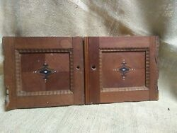 2 Cupboard Doors Carved Trim Antique Inlay Mother Of Pearl Spanish Mexico Rococo