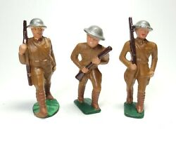 Lot 3 Vintage Manoil Barclay Lead Toy Soldiers U.s. Military Rifle Action Pose