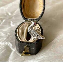 Best Antique Victorian Tiny Silver And Diamond Duck/ Bird Charm Pendant Gold Bale