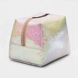 Glitter Makeup Bag Cosmetic Bag by TARGET BEAUTY White Iridescent NEW $8.50