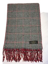 100 Cashmere Hand Tailored Scarf Made In Germany Red/black Houndstooth Fringe