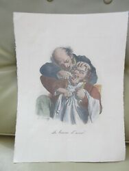 Louis Landeacuteopold Boilly 18th Dentist Caricature Lithograph Antique Hand Colored