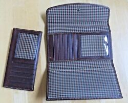 Gh Bass And Co Full Grain Natural Leather Houndtooth Lined 5 Section Clutch Wallet