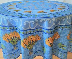 71quot; 180cm ROUND WHEAT BOUQUETS BLACK OLIVES BLUE FRENCH PROVENCE TABLECLOTH