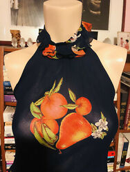 Vintage 1970s Valentino 3 Pc Floral Silk Chiffon Gown Halter Top, Skirt And Shawl