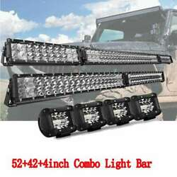 54inch Fold Led Light Work Bar + 42 + 4x 4 Pods Combo 4wd Truck Suv For Jeep