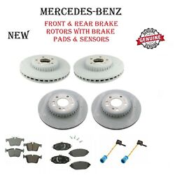 Front And Rear Brake Rotors With Pads And Sensors Set For Mercedes-benz Genuine