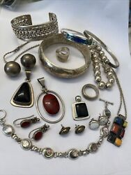 Vintage Taxco Mexico 925 Sterling Silver Ring bracelet earring Pend Lot Estate
